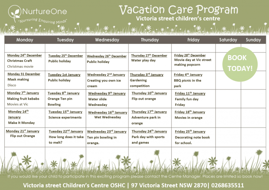 NurtureOne in Parkes - Vacation Care Program - Before & After School Day Care
