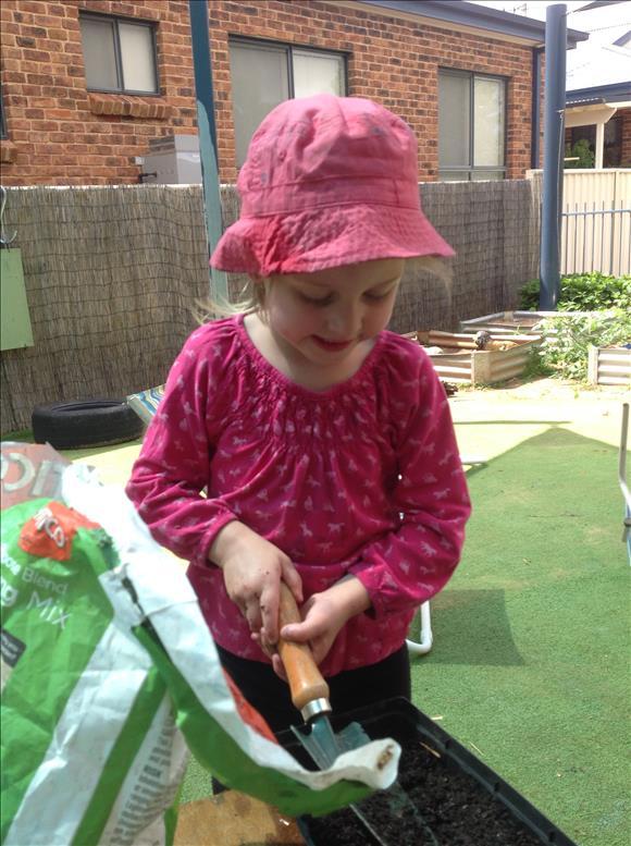 Child does gardening